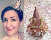 birthday headband adult, custom number, adult birthday hats, jeweled hair, 21st birthday, adult party hats, custom birthday hat, rose gold