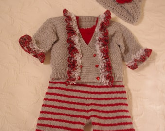 Reduced price One of a kind original design hand crafted outfit for baby - age 3 months