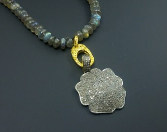 Pave Diamond Flower Pendant - 925 Sterling Silver -  Pave diamond pendant - Pave Diamond Necklace pendant - Silver Pendant with diamond