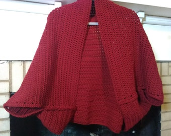 Shrug-crochet berry red shrug-handmade shrug large, extra large-red crochet shrug-extra large shrug-