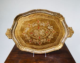 Italian Beige Florentine Wood Painted & Gilded Tray [5442.D]