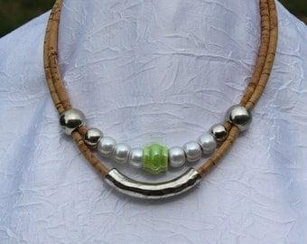 Double cork necklace.