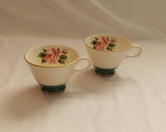 1950s Teal Floral Tea Cups Set of 2