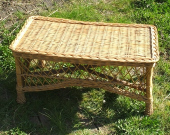 Rattan and wicker coffee table