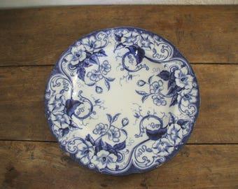 """Large dish """"Creil & Montereau"""" décor flora"""