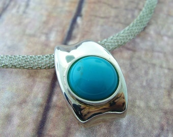 Curved Turquoise Necklace Pendant- Sterling Silver
