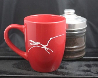 Pterodactyl - Dinosaur Mug - Ceramic Etched Fossil Mug - Coffee Cup - Tea Mug - Gift Ideas - Gifts