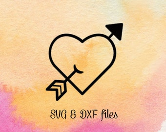 Heart With Arrow svg dxf files, Valentine svg, heart files for silhouette, Digital design, Svg for cricut, Arrow cutting files, Love file