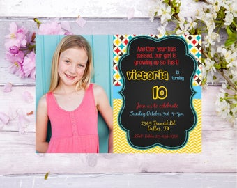 girls photo invitation, girls birthday party invite, teen birthday, birthday party invite, tween birthday, personalized birthday invite