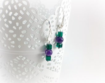 Earrings dangling, original, Amethyst, Crystal, Sterling Silver