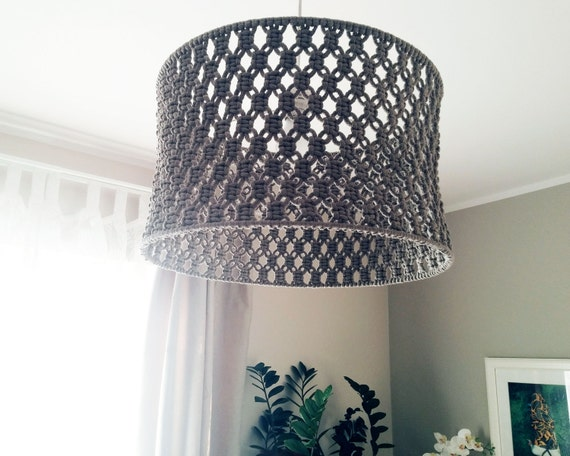 items similar to knitschka macrame lamp shade on etsy. Black Bedroom Furniture Sets. Home Design Ideas