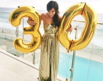 """30 Number Balloons   40"""" Gold Number Balloons   Metallic Letter Balloons   Birthday Number Balloons   Gold Party Decorations"""