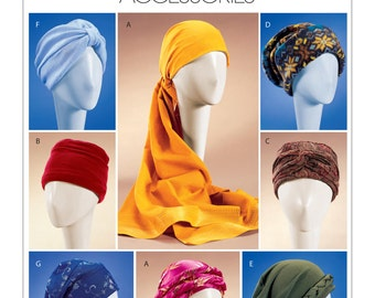 Sewing Pattern for Misses' Turban, Headwrap and Caps, McCall's Pattern 4116, Scarf Head Wrap, Slouch Hat, Women's Hats