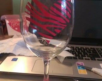 Zebra Decorated Wine Glass with or without personalization