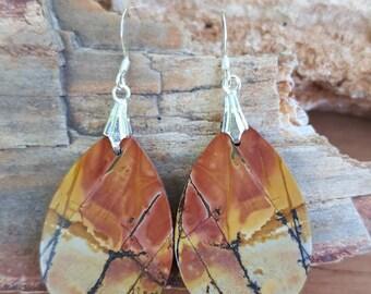 Teardrop Red Creek Jasper Gemstones and Sterling Silver Earrings, Teardrop Picasso Jasper Earrings, Teardrop Red Creek Jasper Earrings