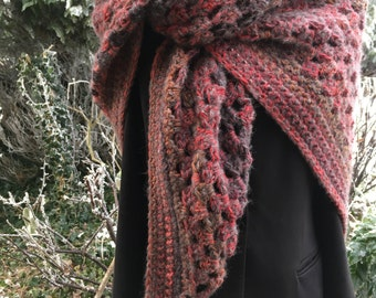 Warm brick-reds: Soft, warm triangle healing shawl / wrap
