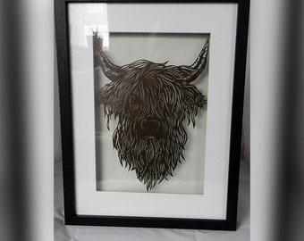 Highland cow, art, framed art, framed highland cow, black frame, paper cut, paper cutting, framed paper cut