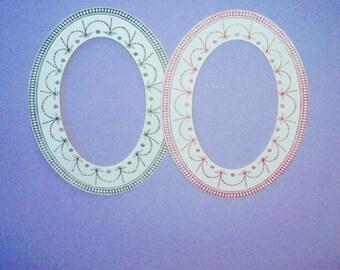 Anna Griffin Oval Paper Frames Diecuts  Craft Supplies Vintage Paper