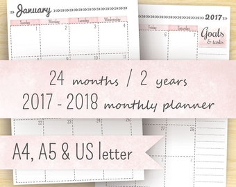 2017 Monthly Planner, Printable Planner 2017-2018, Month On Two Pages, A5 Calendar & A4, Letter (8.5 x 11) Planner Pages