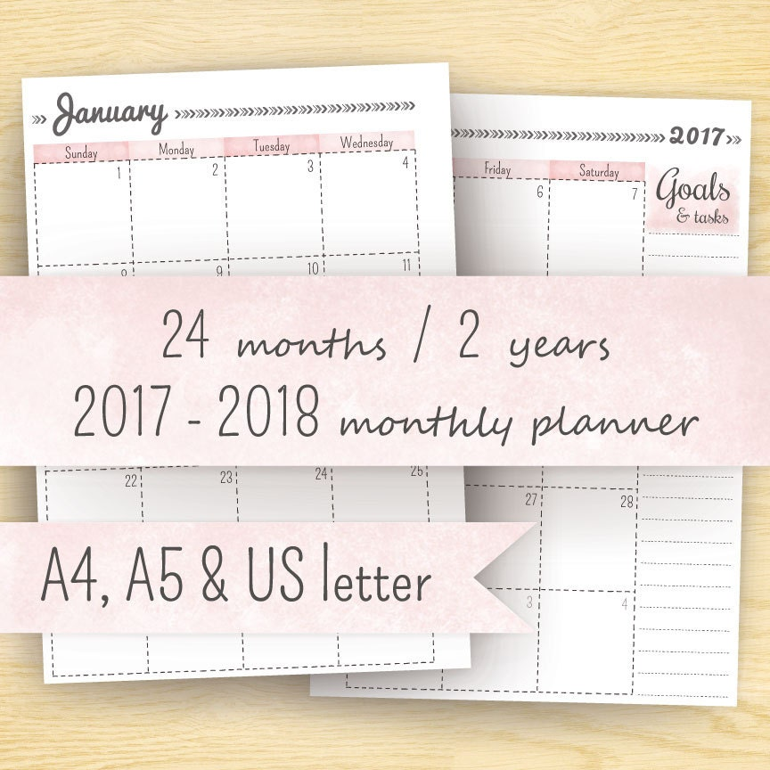2017 Monthly Planner Printable Planner 2017-2018 Month On