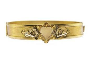 Edwardian Gold Heart Bracelet, Gold Heart Hinged Bracelet, Gold Bracelet with Hearts and Flowers