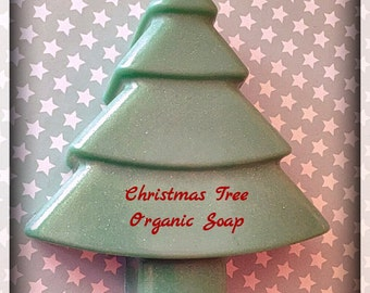Free shipping gift Set of two Handmade Organic Christmas tree bar Soaps 5oz.-Goat Milk!!!