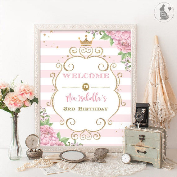 I Am One Pink And Gold Birthday Party Decorations One High: Princess Welcome Sign. Pink And Gold Welcome Sign. Floral