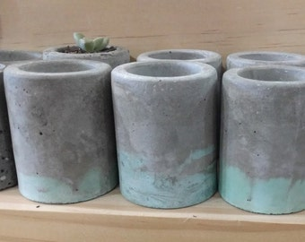 Mini Concrete Cement Pot - Two Tone - Grey & Teal