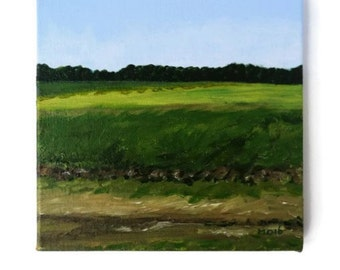 Green Acryl Painting, Impressionist Landscape, Nature Lover, Green Fine Art, Acrylic Canvas, Small Landscape, Canvas Painting, Nature Canvas