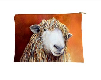Sheep Pouch, Zippered Travel Bag, Make Up Bag, Cosmetics Bag, Sheep Pencil Case, Accessories Pouch - large and small size