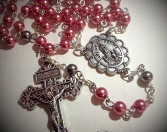 Rose Pink Glass Pearl Five Decade Rosary, With Bag, Lady of Fatima, Catholic, Prayer