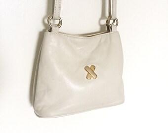 Paloma Picasso purse / cream eggshell leather purse /