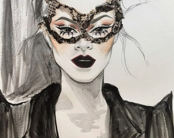 Original Cat Woman Mask Fashion Illustration Painting and Collage