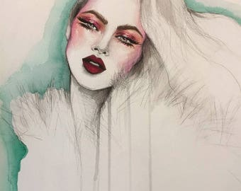 1970's Inspired Original Watercolor Fashion Illustration Painting