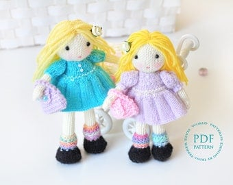 Doll knitting pattern-Molly and Dolly dolls-knitted doll pattern-Amigurumi doll-ElvesWorld doll-knit patterns-little sweet dolls