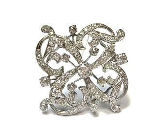 Vintage 1940s 14k White Gold Large Pendant or Pin Brooch with 3.82 Carats of Diamonds