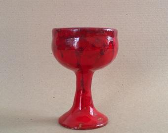 Red ceramic goblet