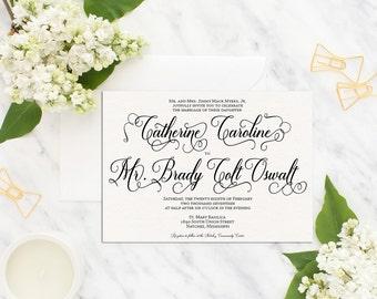 Printable Wedding Invitation Suite /Wedding Invite Set/ Wedding Invitation /Calligraphy Wedding Invitation