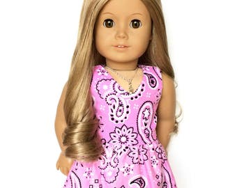 Sleeveless Dress, Bandana, Pink, Black, White, American Doll Clothes, 18 inch Doll Clothes