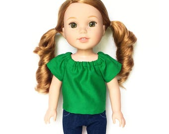 Peasant Top, Green, 14 inch Doll Clothes, Wellie Wishers, Free Mini Skirt with the Purchase of 3 WW Peasant Tops