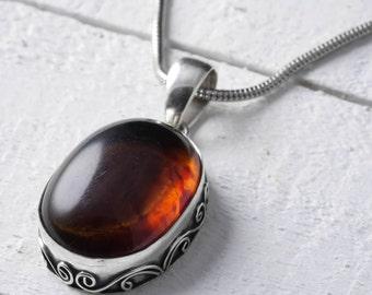 4.25cm Sterling Silver Bezel Set Natural Amber Pendant - Jewelry Making Amber Cabochon Pendant J745