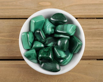 Two Small Polished MALACHITE Stones - Tumbled Stones, Malachite Jewelry, Malachite Necklace, Pocket Stones, Healing Crystals E0153