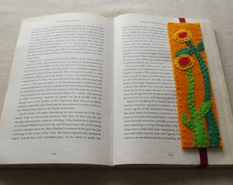 Summer Flowers felt BOOKMARK - Handmade, can be made to order