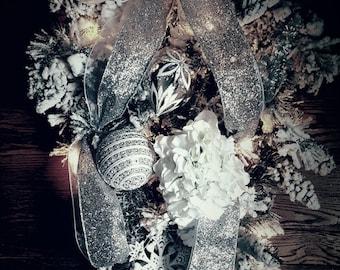 Owl Wreath, Winter Swag, Christmas Swag, Holiday Swag, Christmas Wreath, Front Door Wreath, Flocked Wreath, Pre-lit Wreath, Pre-lit Swag