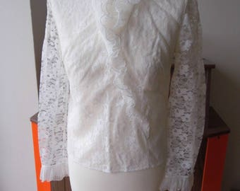 1970s lace ruffle front blouse size 10