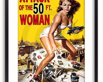 Attack Of The 50 Ft Woman Vintage Poster