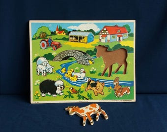 Original 1970s Wooden Children's Farmyard Puzzle - Country Scene Made in England by G J Hayter and Co Bournemouth