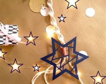 Decorative star, wall decoration, star in paper, macrame, weaving modern suspension