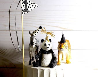 First Birthday Boy Cake Topper Boy Black and White Birthday Cake Topper Zoo Birthday Decorations Zoo Animals