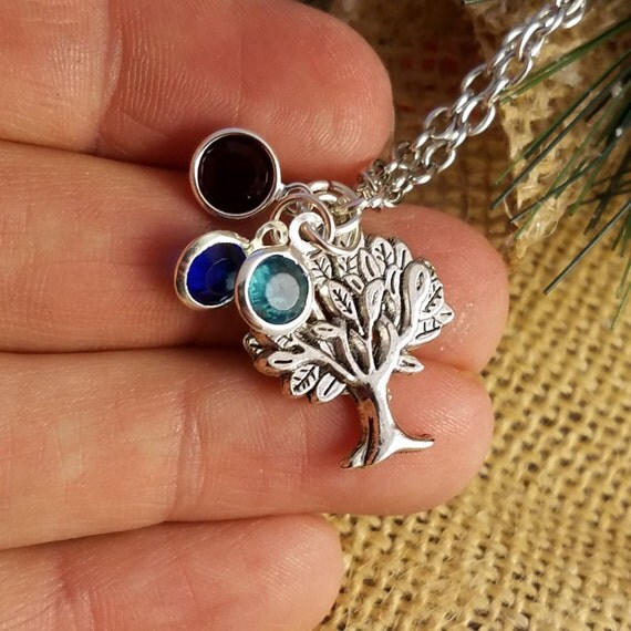 Custom Family Tree Gift, Personalized Birthstone Necklace, LDS Gifts for Mom, Valentine's Day Gifts, Tree of Life Charm, LDS Mom Jewelry